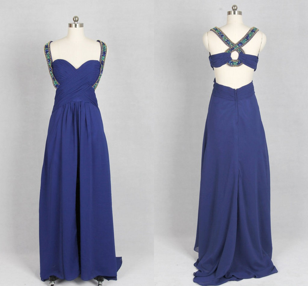 Sweetheart Straps Floor length Chiffon Evening Dress