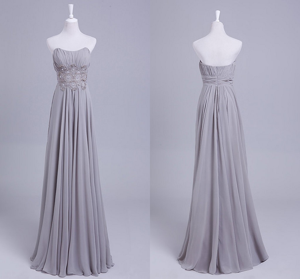 Custom light grey chiffon applique long wedding dresses for Light grey wedding dress