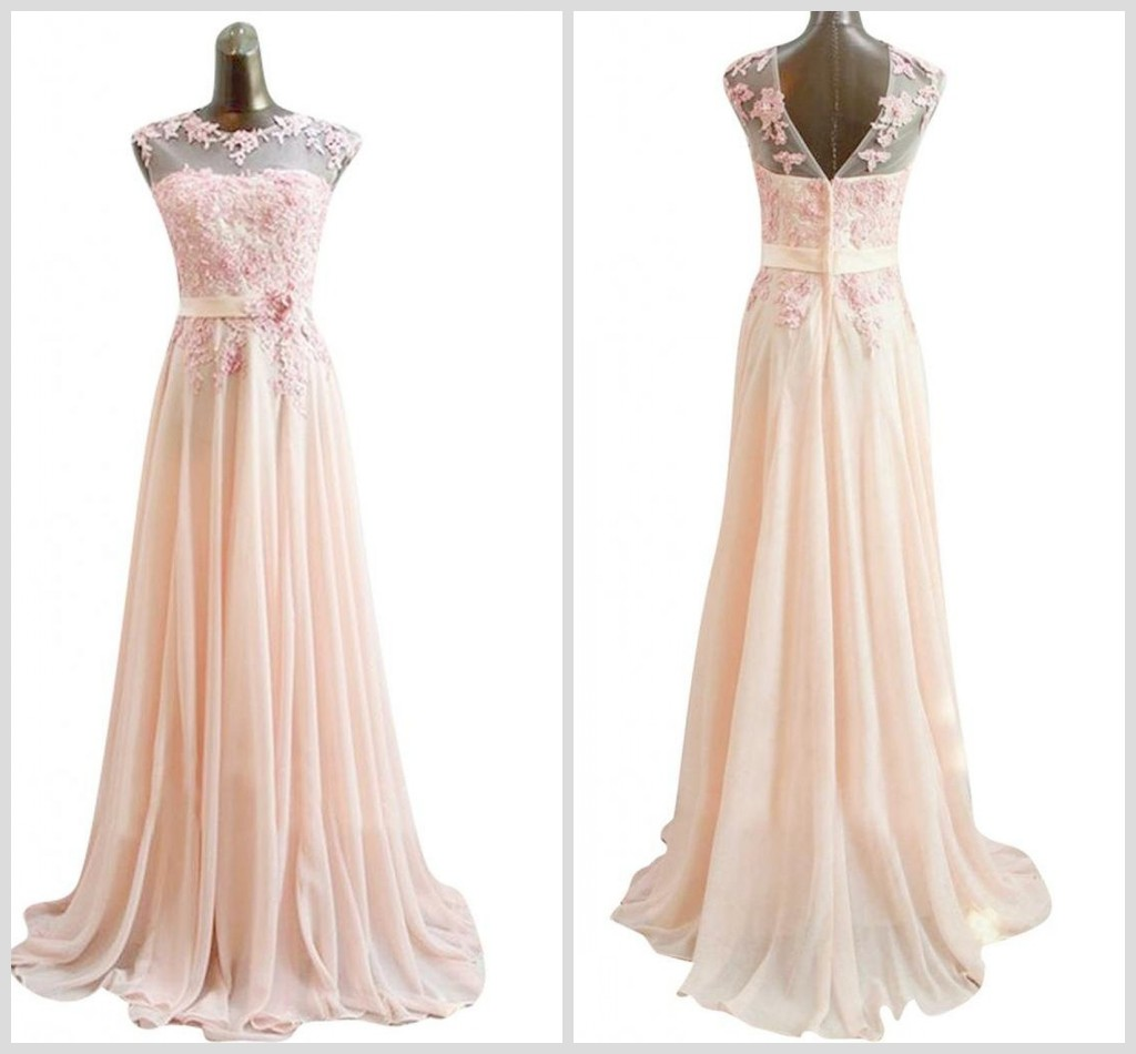 Light Pink Appliques Prom Dresses 2015 Fashion Evening