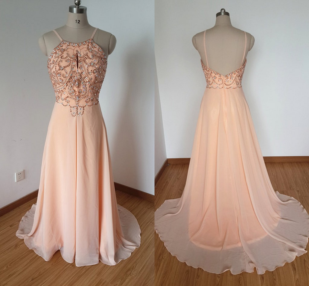 Light Pink Beaded Long Prom Dresses 2015 y Party